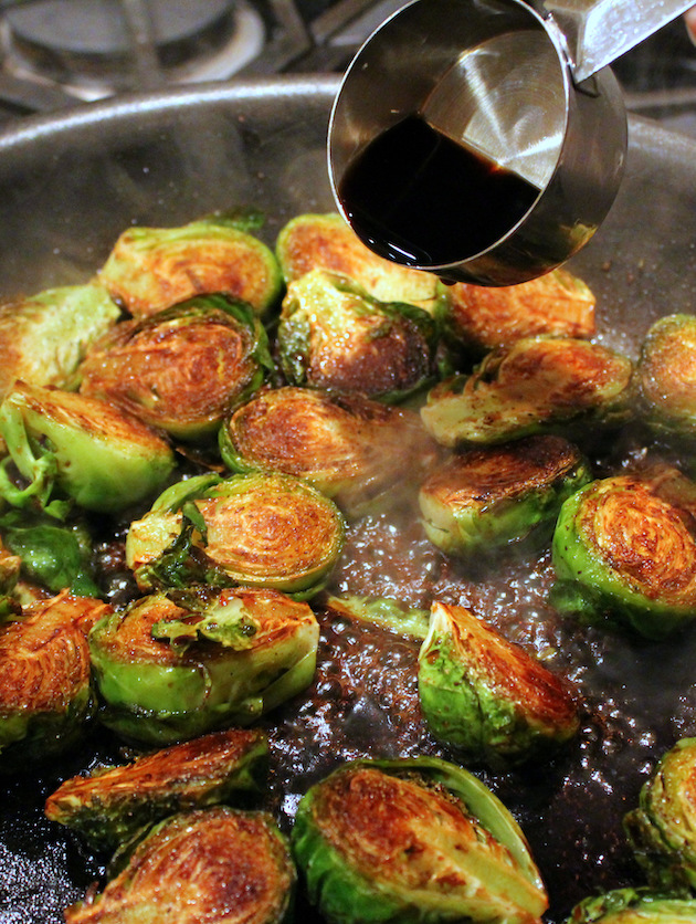 Adding balsamic vinegar to saute pan cooking Brussel sprouts