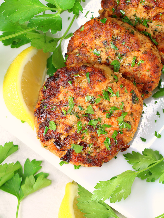 Close up partial platter of low carb salmon patties