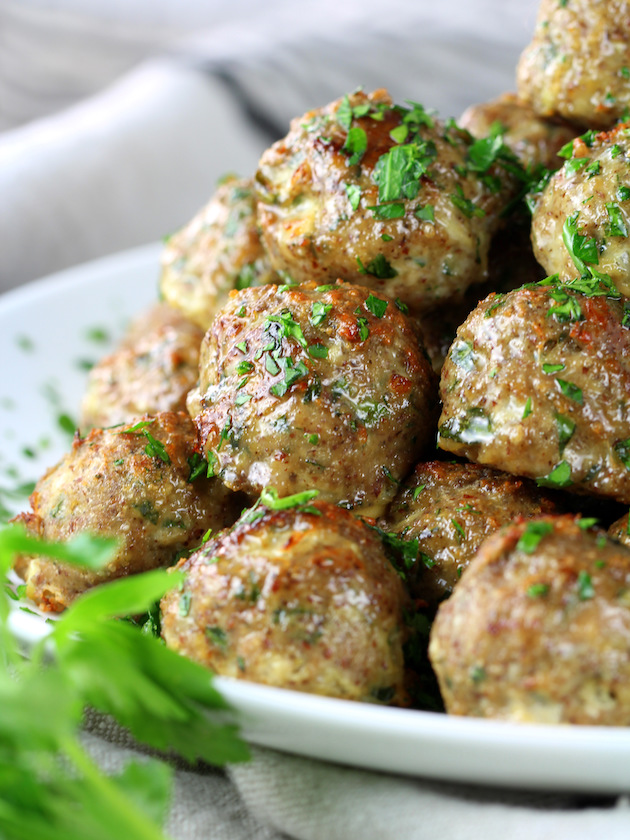 Very close up eye level partial platter of turkey meatballs