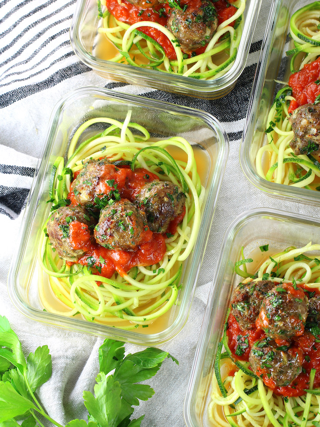 Meal prep containers with turkey meatballs on zucchini noodles