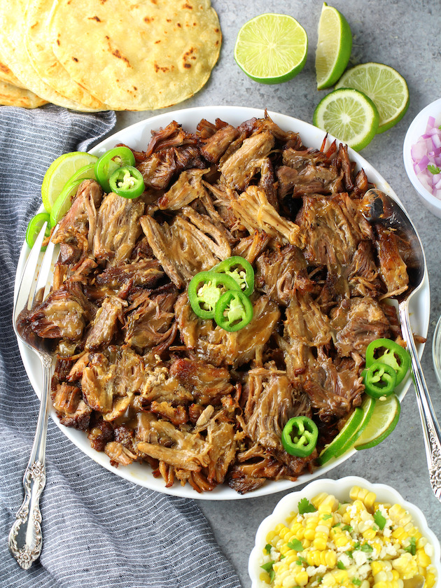 Plate full of shredded low carb pork carnitas