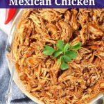 platter of shredded Mexican chicken