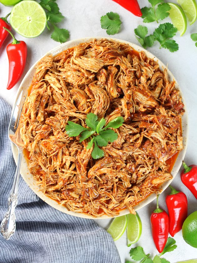 Plate of shredded Instant Pot Mexican Chicken