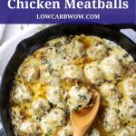 cheesy chicken meatballs in skillet