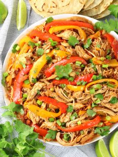 platter of chicken fajitas from the slow cooker