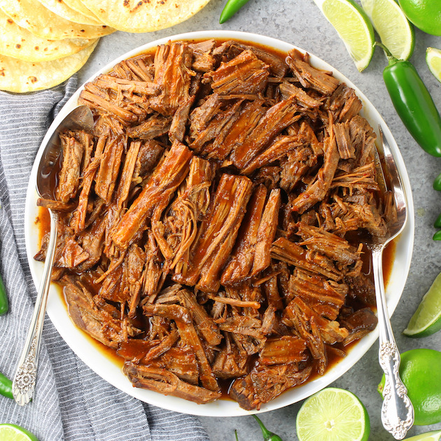 Platter of shredded low carb barbacoa beef
