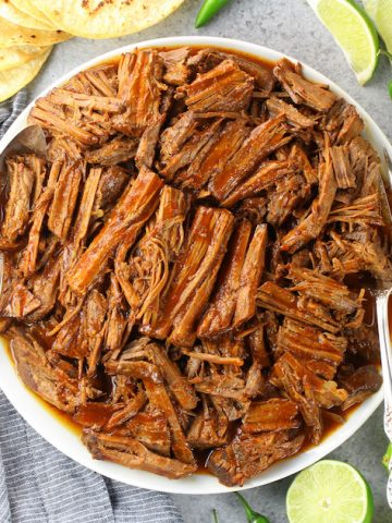 plate of shredded low carb barbacoa beef