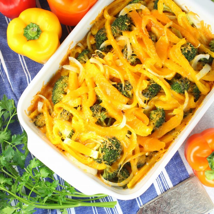 Chicken Casserole with bell peppers, broccoli, and cheese