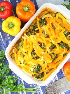 chicken casserole dish with peppers and cheese