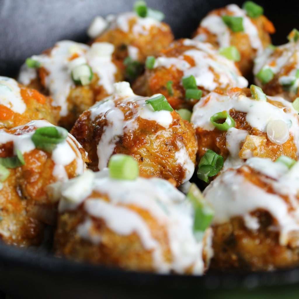 close up eye level low carb buffalo chicken meatballs